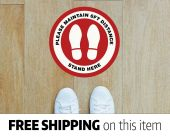 "4-PACK Social / Safe Distancing 10"" Floor Vinyl Decal Sticker - Foot Print - Red"