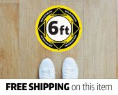 "4-PACK Social / Physical / Safe Distancing 10"" Floor Vinyl Decal Sticker - 6ft - Yellow"